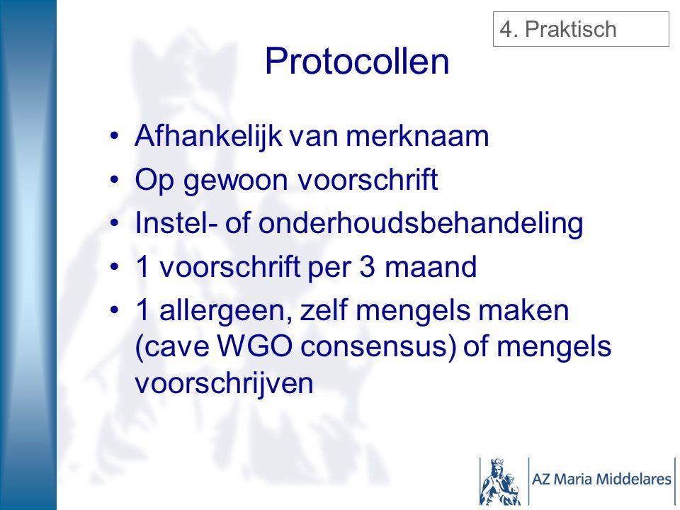 Protocollen Afhankelijk van merknaam Op gewoon voorschrift
