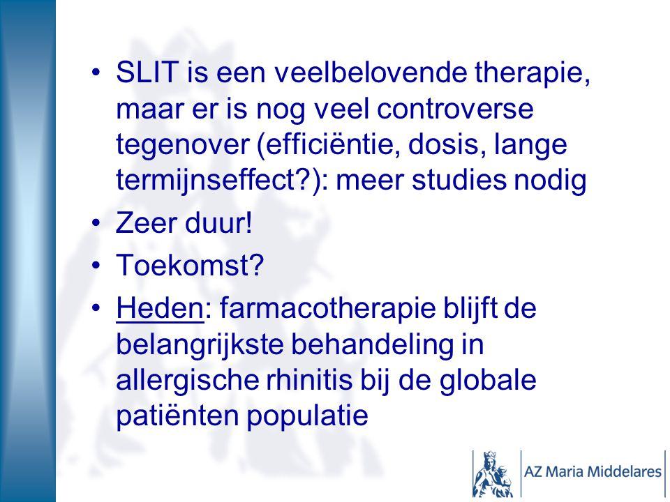 SLIT is een veelbelovende therapie, maar er is nog veel controverse tegenover (efficiëntie, dosis, lange termijnseffect ): meer studies nodig