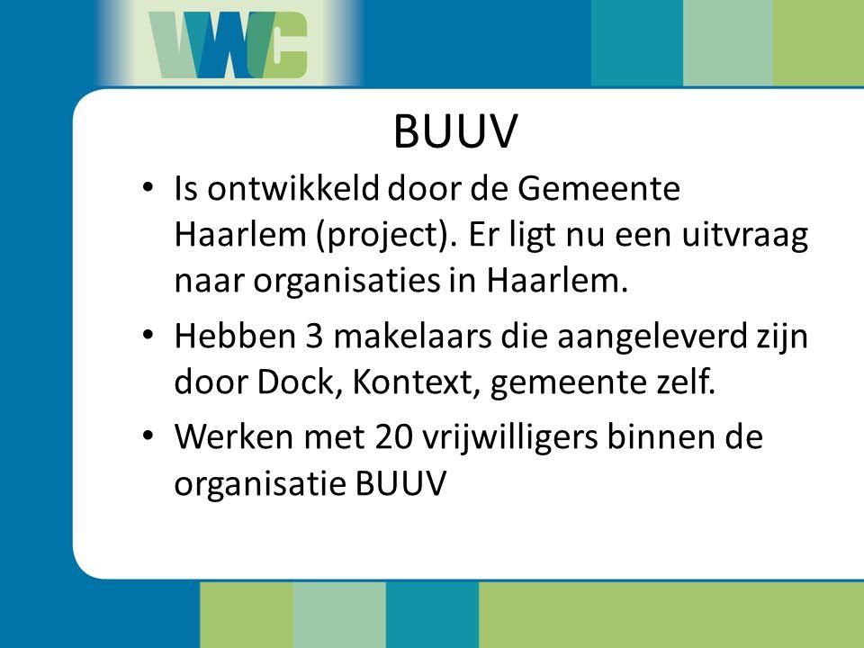 BUUV Is ontwikkeld door de Gemeente Haarlem (project). Er ligt nu een uitvraag naar organisaties in Haarlem.