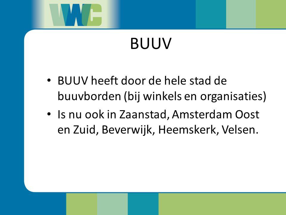 BUUV BUUV heeft door de hele stad de buuvborden (bij winkels en organisaties)