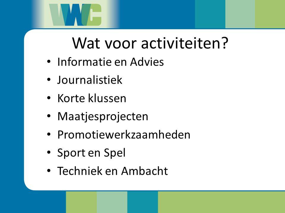 Wat voor activiteiten Informatie en Advies Journalistiek