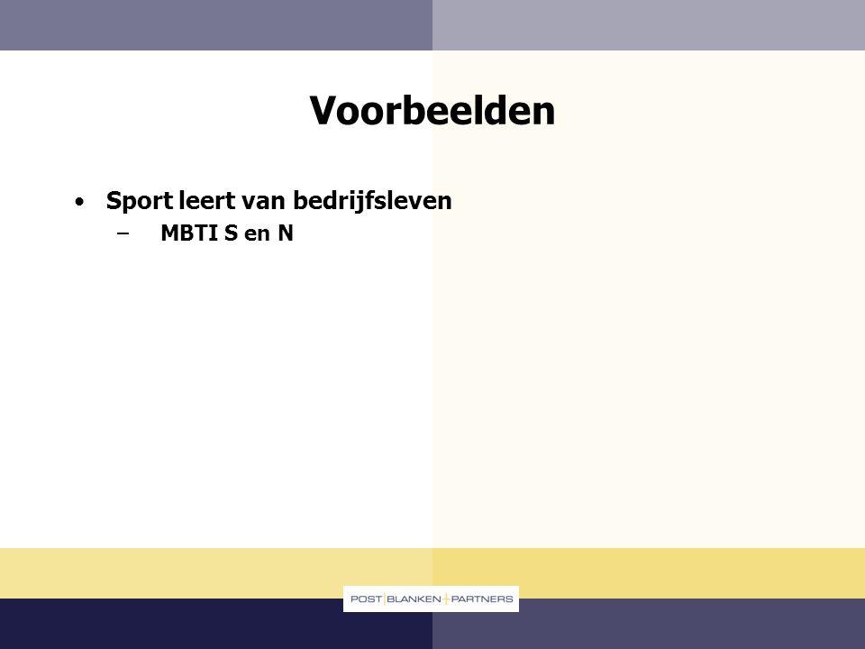 Voorbeelden Sport leert van bedrijfsleven MBTI S en N