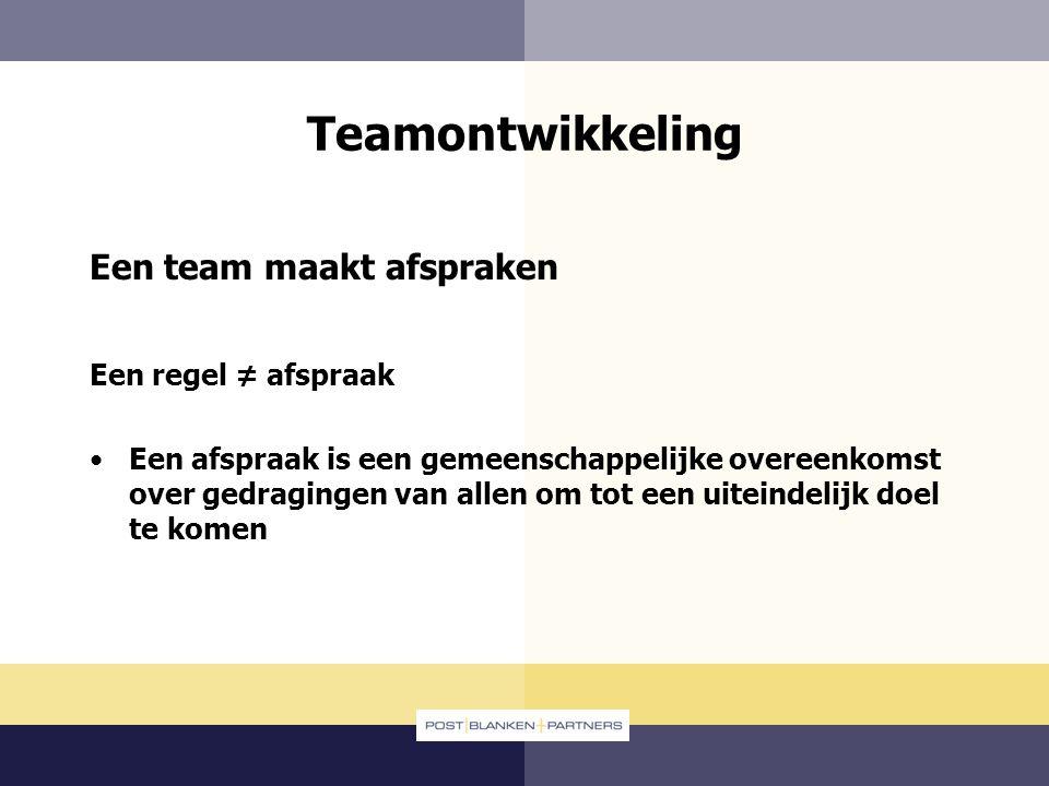 Teamontwikkeling Een team maakt afspraken Een regel ≠ afspraak