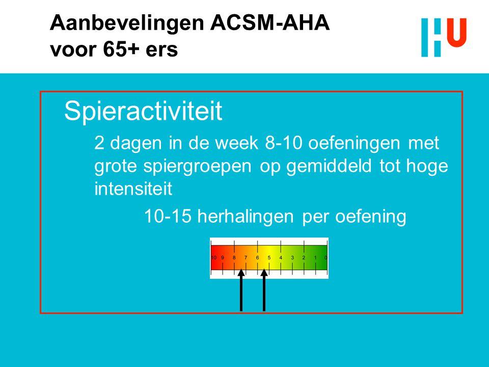 Aanbevelingen ACSM-AHA voor 65+ ers