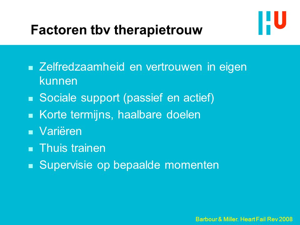 Factoren tbv therapietrouw