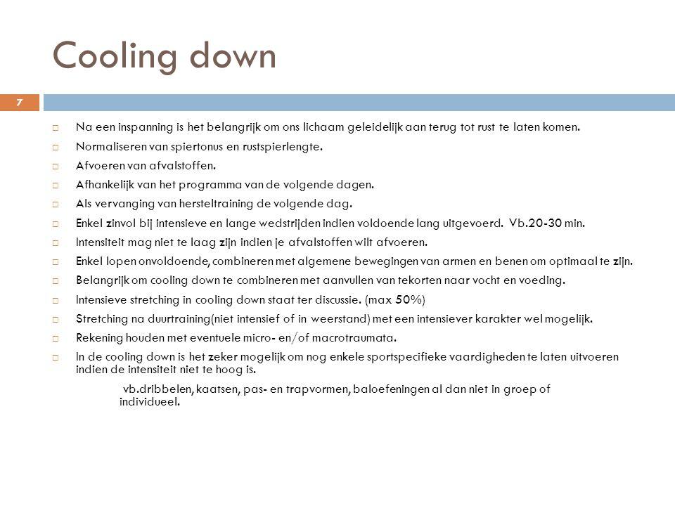 Cooling down Na een inspanning is het belangrijk om ons lichaam geleidelijk aan terug tot rust te laten komen.