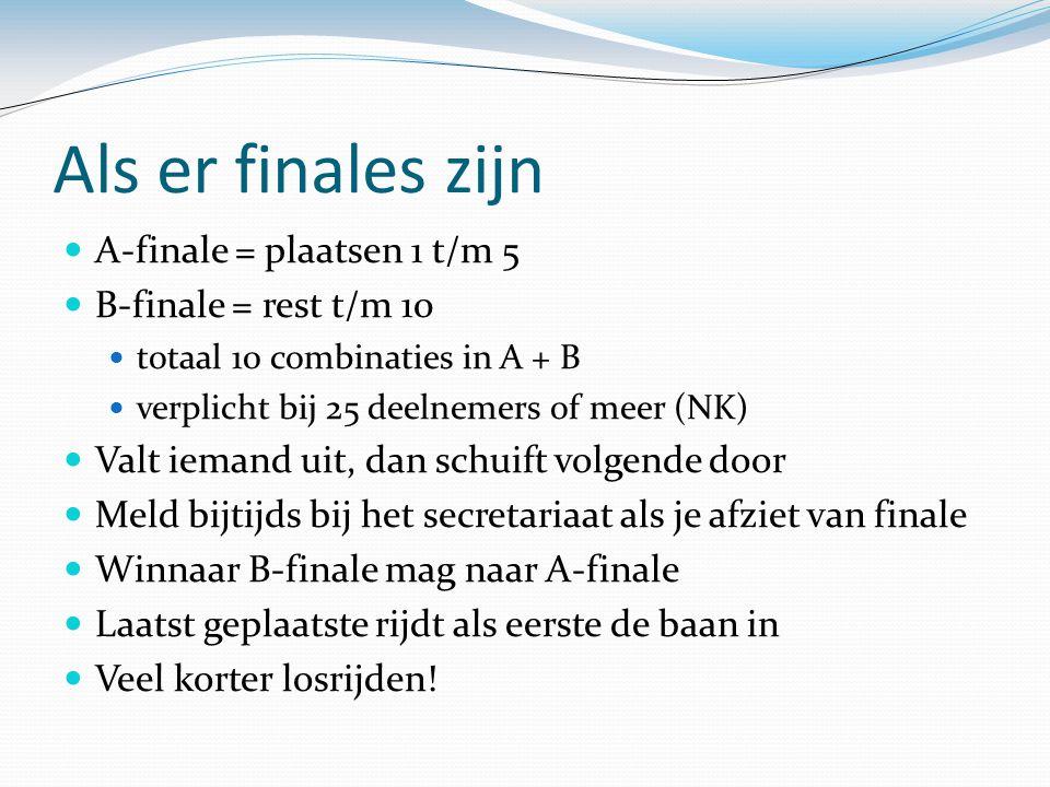 Als er finales zijn A-finale = plaatsen 1 t/m 5 B-finale = rest t/m 10