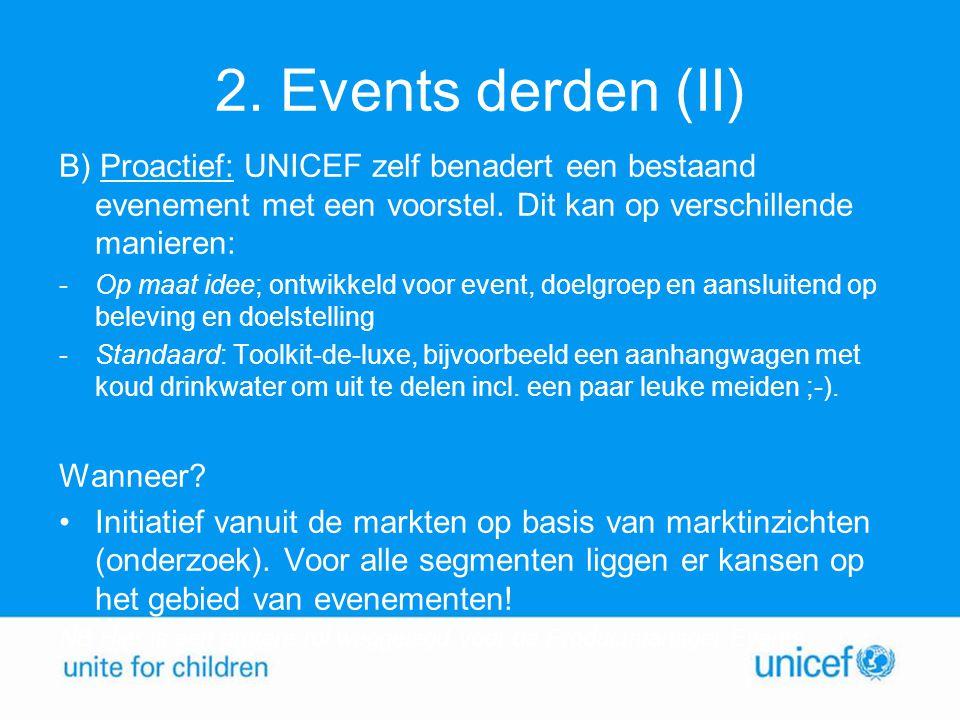 2. Events derden (II) B) Proactief: UNICEF zelf benadert een bestaand evenement met een voorstel. Dit kan op verschillende manieren: