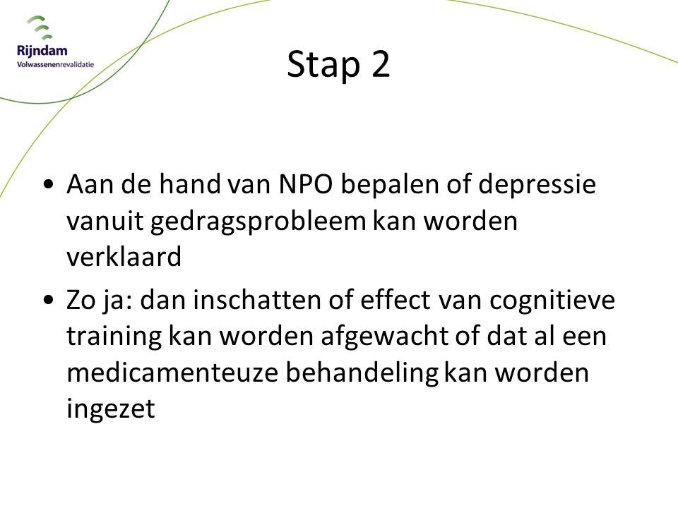 Stap 2 Aan de hand van NPO bepalen of depressie vanuit gedragsprobleem kan worden verklaard.