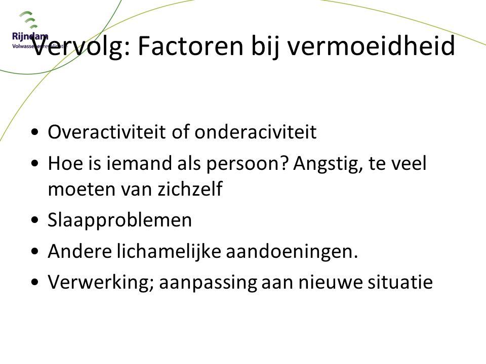 Vervolg: Factoren bij vermoeidheid
