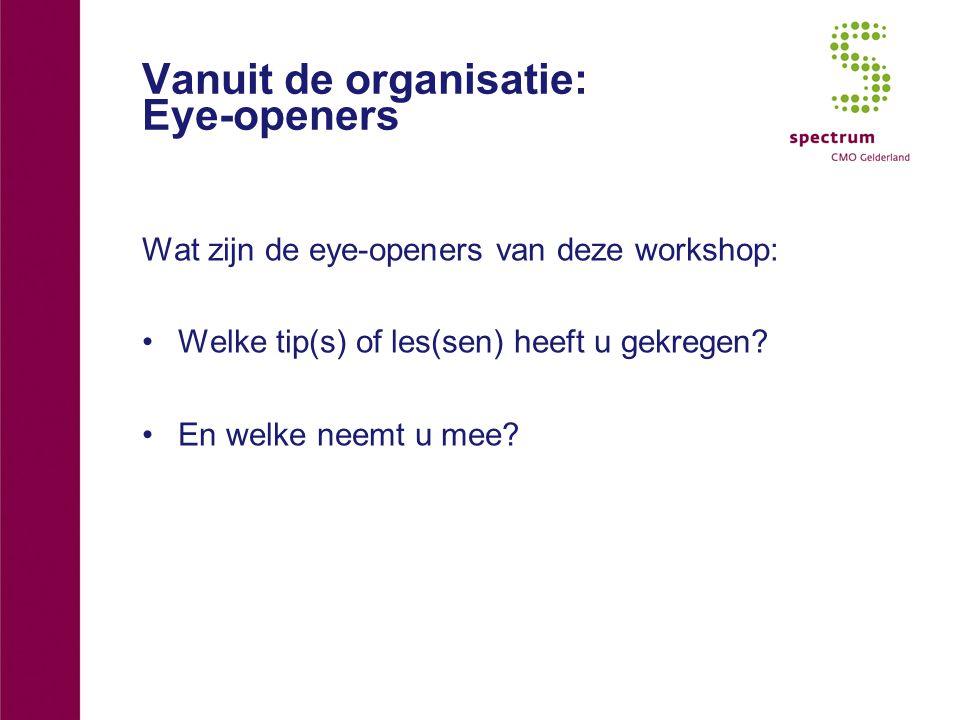 Vanuit de organisatie: Eye-openers