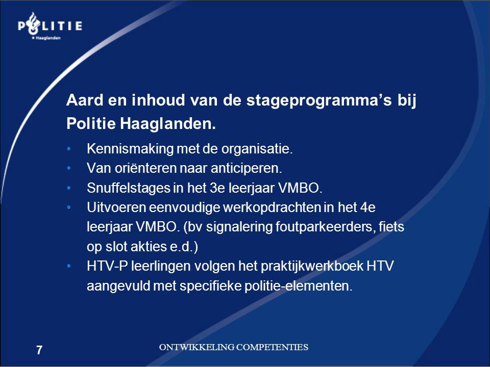 Aard en inhoud van de stageprogramma's bij Politie Haaglanden.