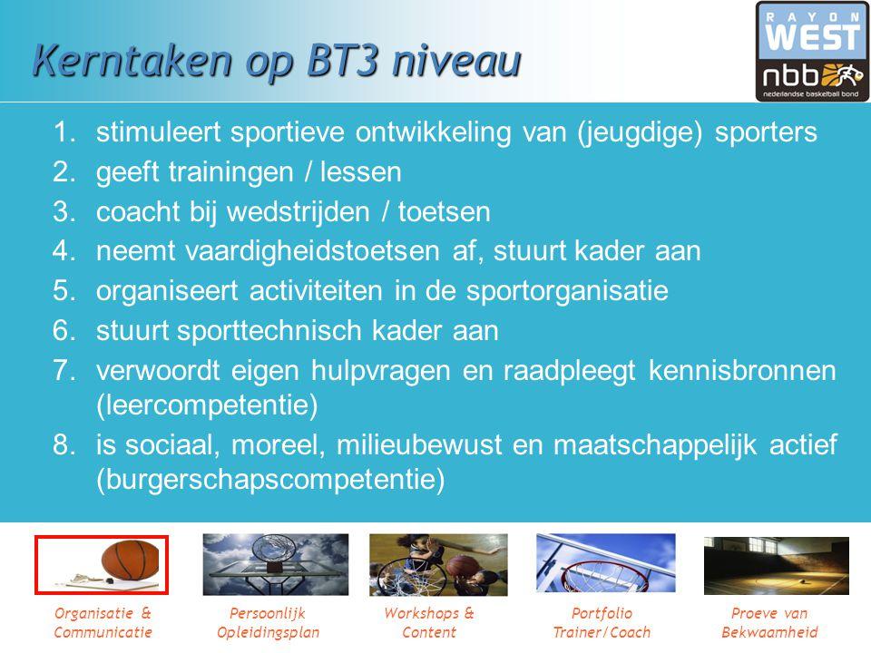 Kerntaken op BT3 niveau stimuleert sportieve ontwikkeling van (jeugdige) sporters. geeft trainingen / lessen.