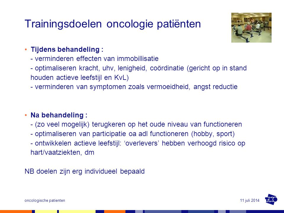 Trainingsdoelen oncologie patiënten