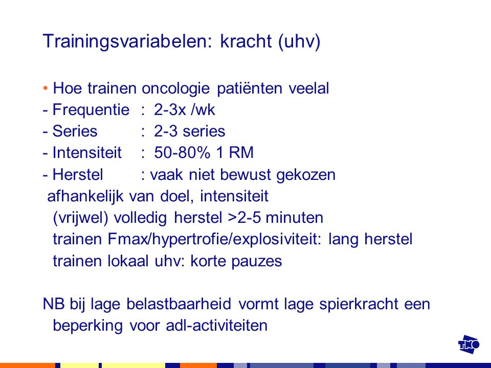 Trainingsvariabelen: kracht (uhv)