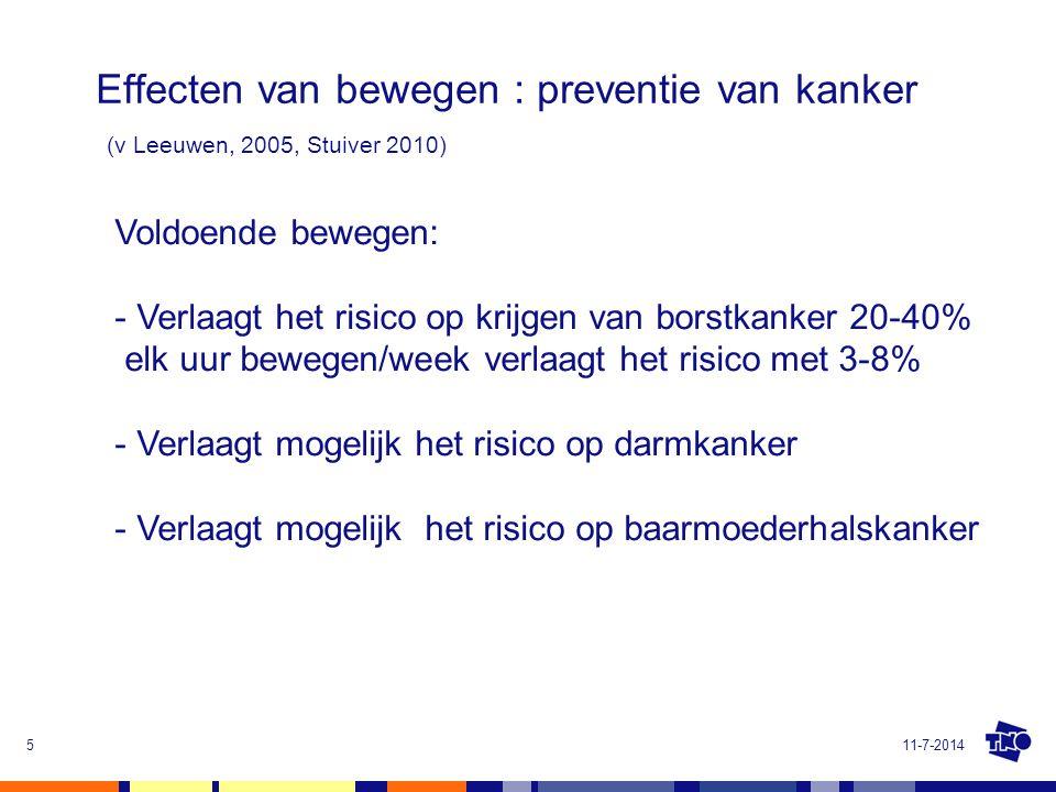 Effecten van bewegen : preventie van kanker (v Leeuwen, 2005, Stuiver 2010)