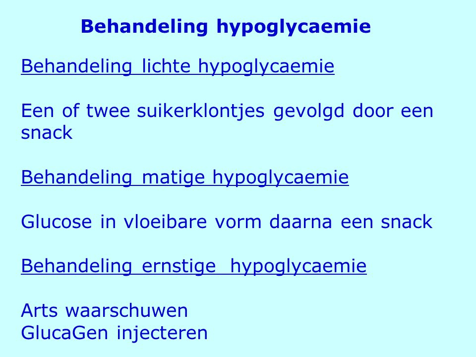 Behandeling hypoglycaemie
