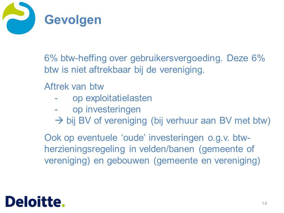 Gevolgen 6% btw-heffing over gebruikersvergoeding. Deze 6% btw is niet aftrekbaar bij de vereniging.