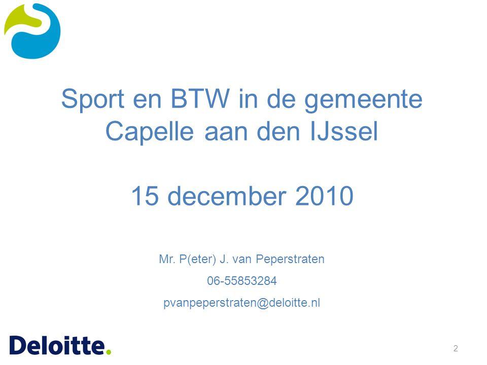 Sport en BTW in de gemeente Capelle aan den IJssel 15 december 2010
