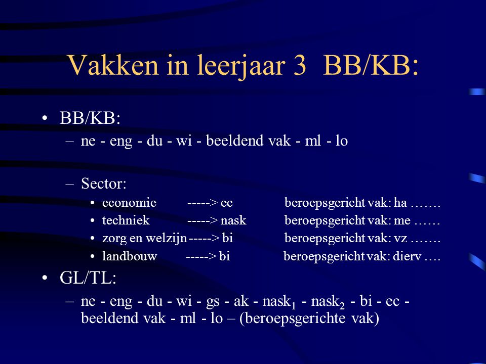 Vakken in leerjaar 3 BB/KB: