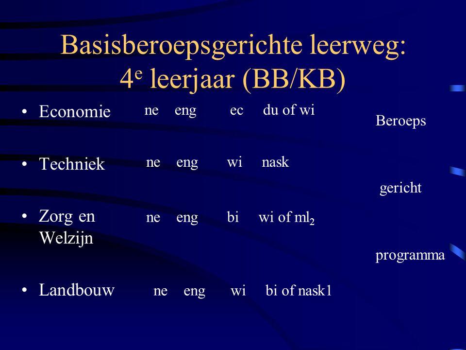 Basisberoepsgerichte leerweg: 4e leerjaar (BB/KB)