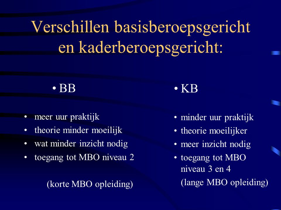 Verschillen basisberoepsgericht en kaderberoepsgericht: