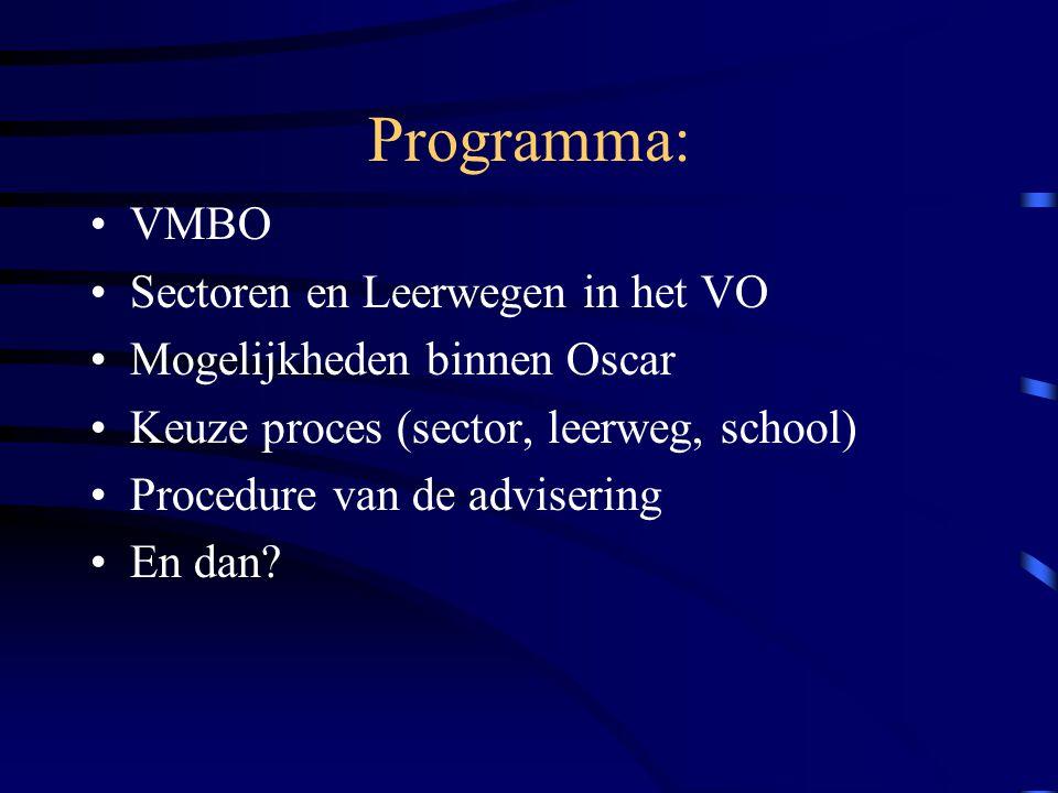 Programma: VMBO Sectoren en Leerwegen in het VO