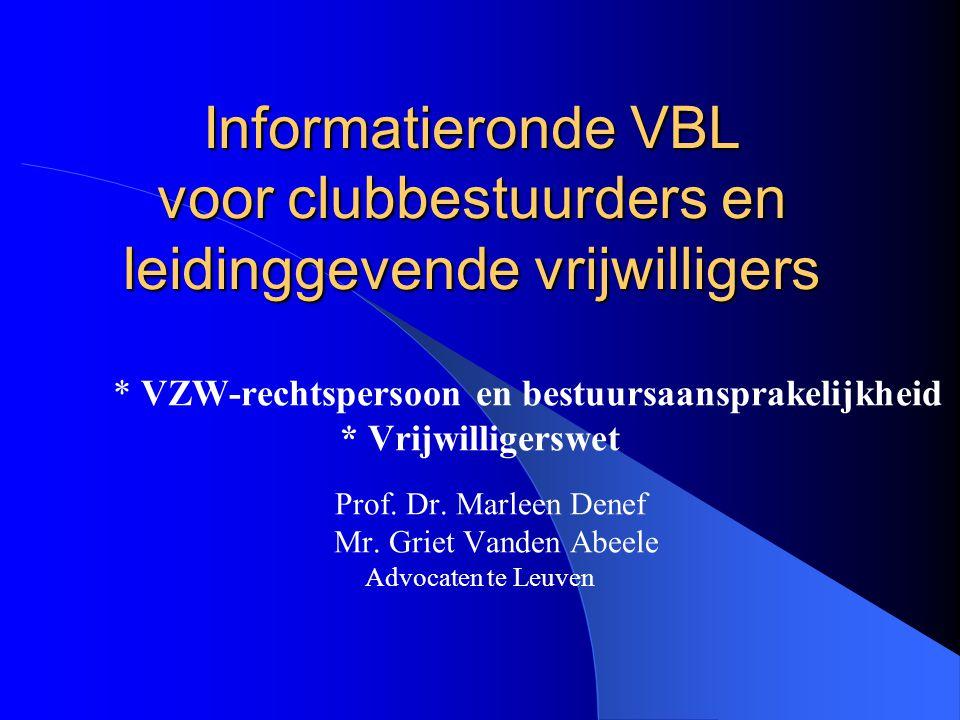 * VZW-rechtspersoon en bestuursaansprakelijkheid
