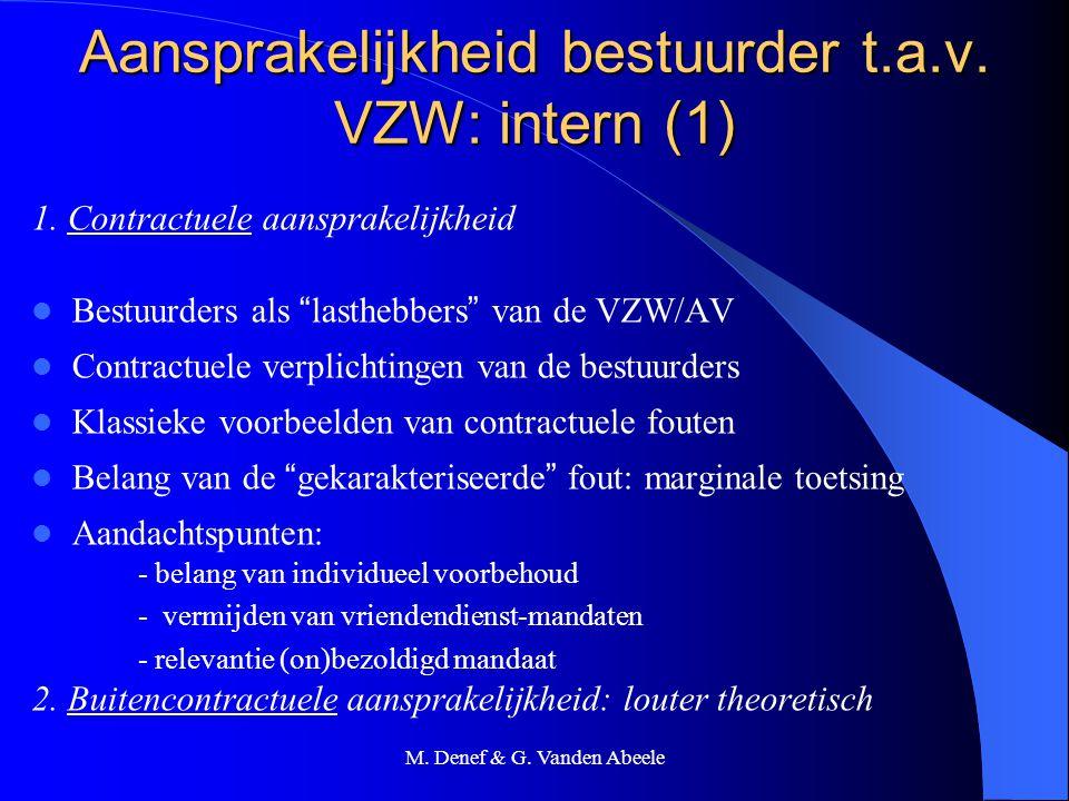 Aansprakelijkheid bestuurder t.a.v. VZW: intern (1)