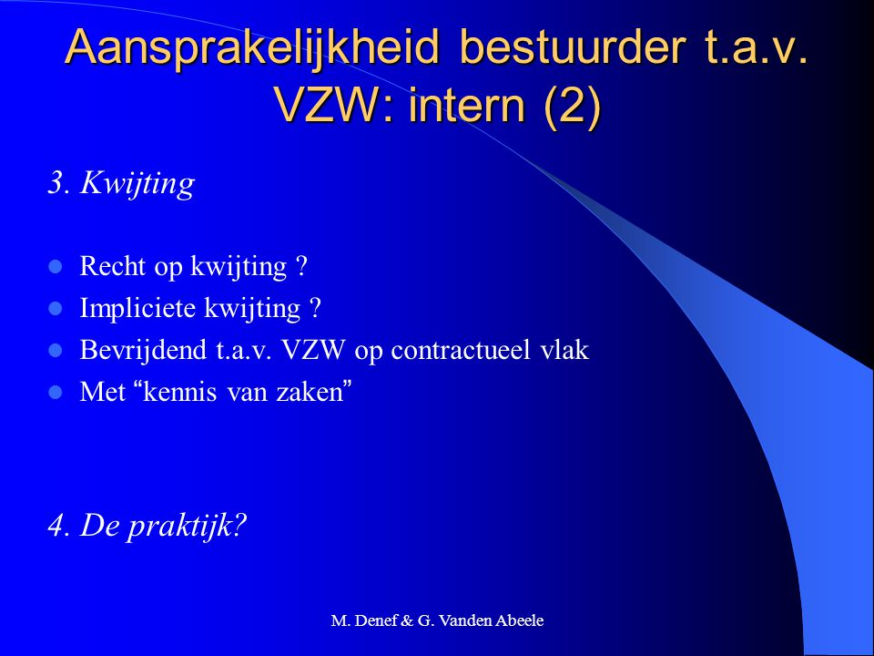 Aansprakelijkheid bestuurder t.a.v. VZW: intern (2)