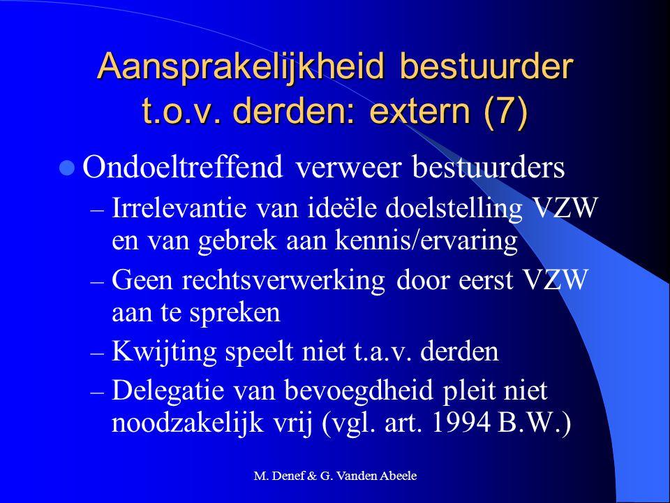 Aansprakelijkheid bestuurder t.o.v. derden: extern (7)