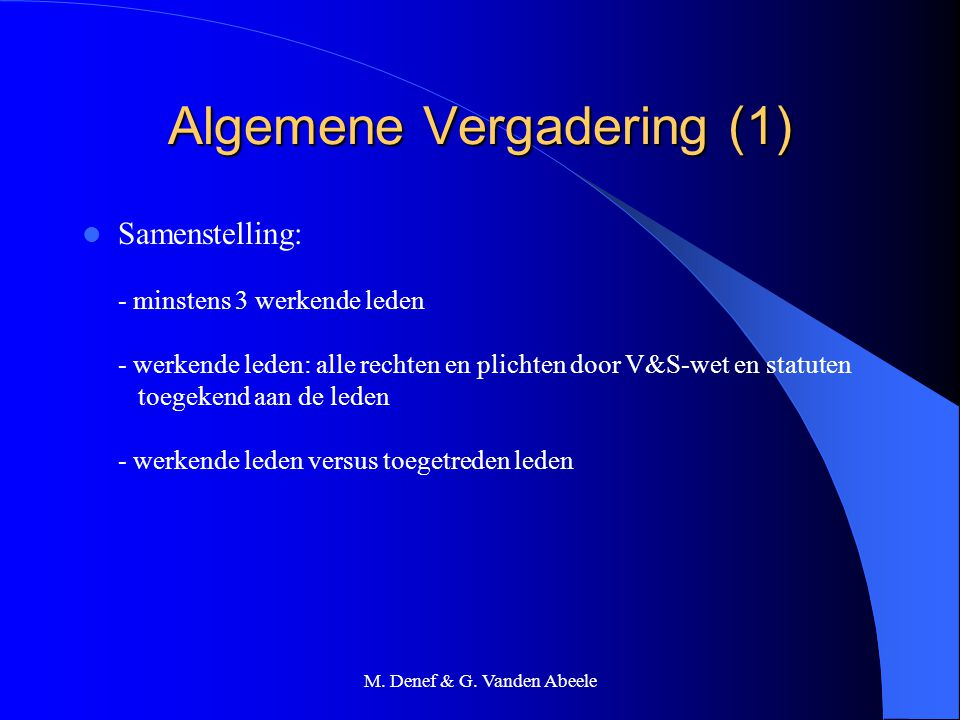 Algemene Vergadering (1)