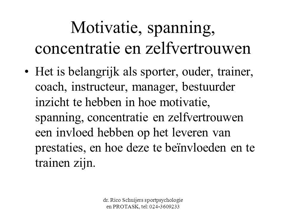 Motivatie, spanning, concentratie en zelfvertrouwen