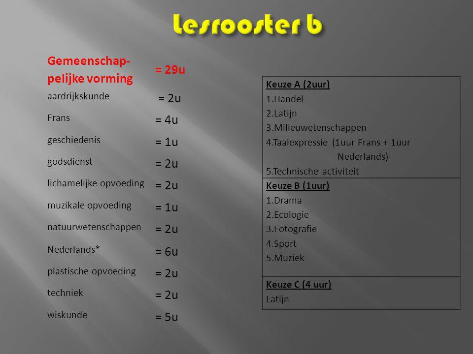 Lesrooster b Gemeenschap- pelijke vorming = 29u = 2u = 4u = 1u = 6u