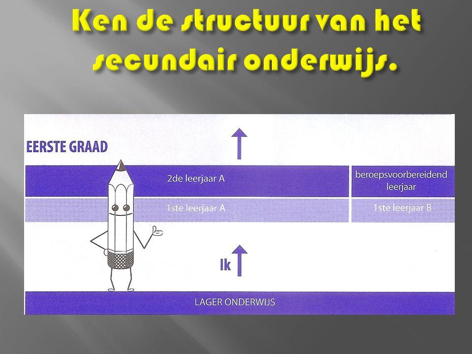 Ken de structuur van het secundair onderwijs.