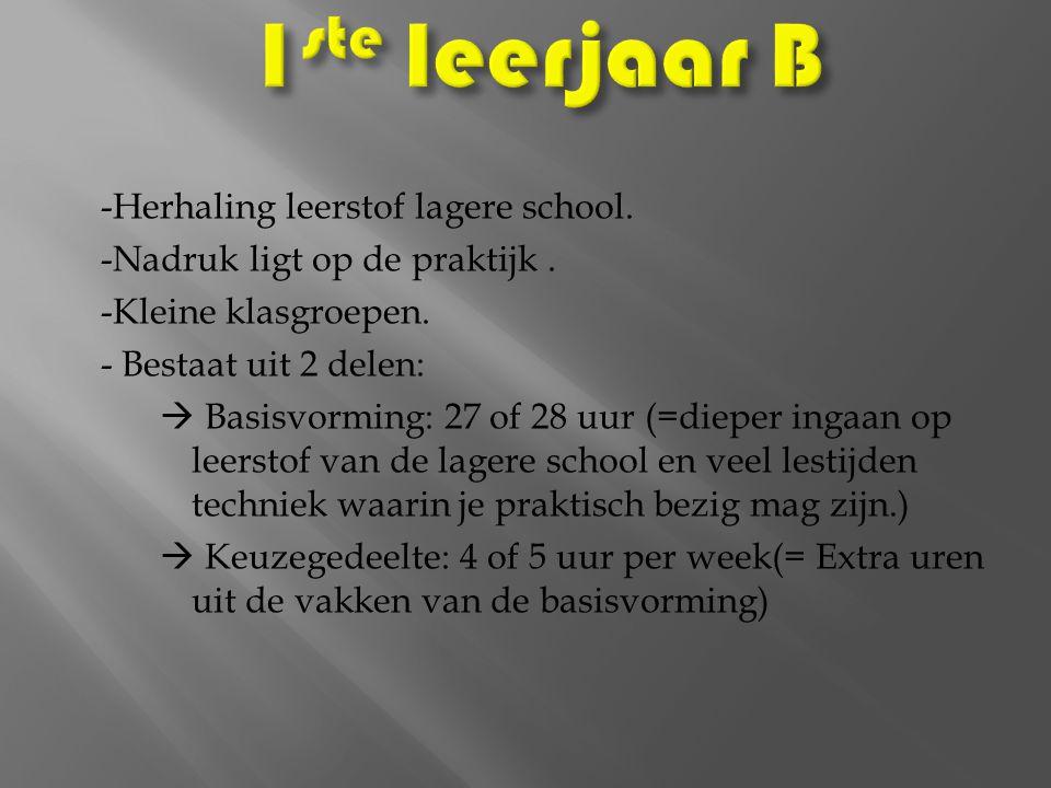 1ste leerjaar B -Herhaling leerstof lagere school.