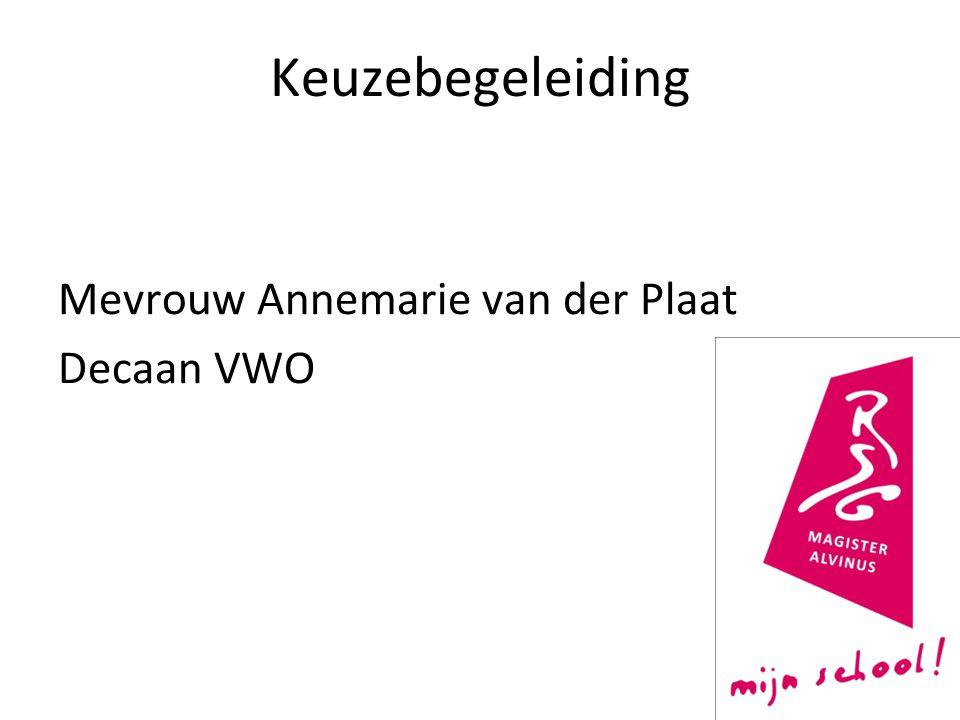 Keuzebegeleiding Mevrouw Annemarie van der Plaat Decaan VWO 2
