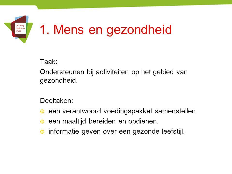 1. Mens en gezondheid Taak: