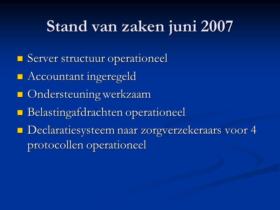 Stand van zaken juni 2007 Server structuur operationeel
