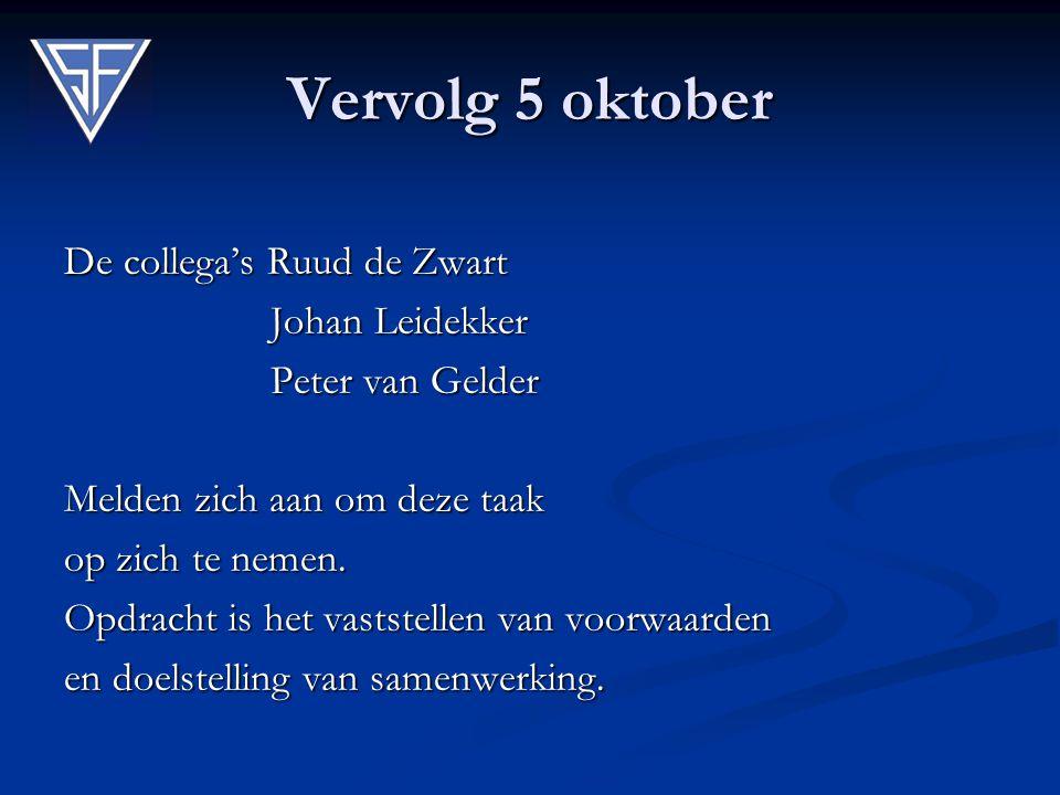 Vervolg 5 oktober De collega's Ruud de Zwart Johan Leidekker