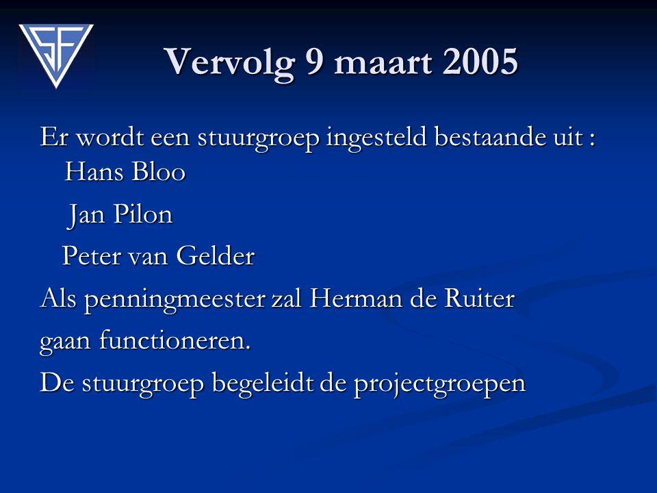 Vervolg 9 maart 2005 Er wordt een stuurgroep ingesteld bestaande uit : Hans Bloo. Jan Pilon. Peter van Gelder.