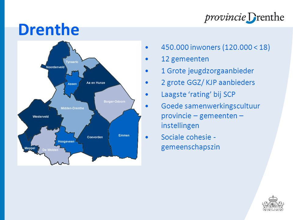 Drenthe 450.000 inwoners (120.000 < 18) 12 gemeenten