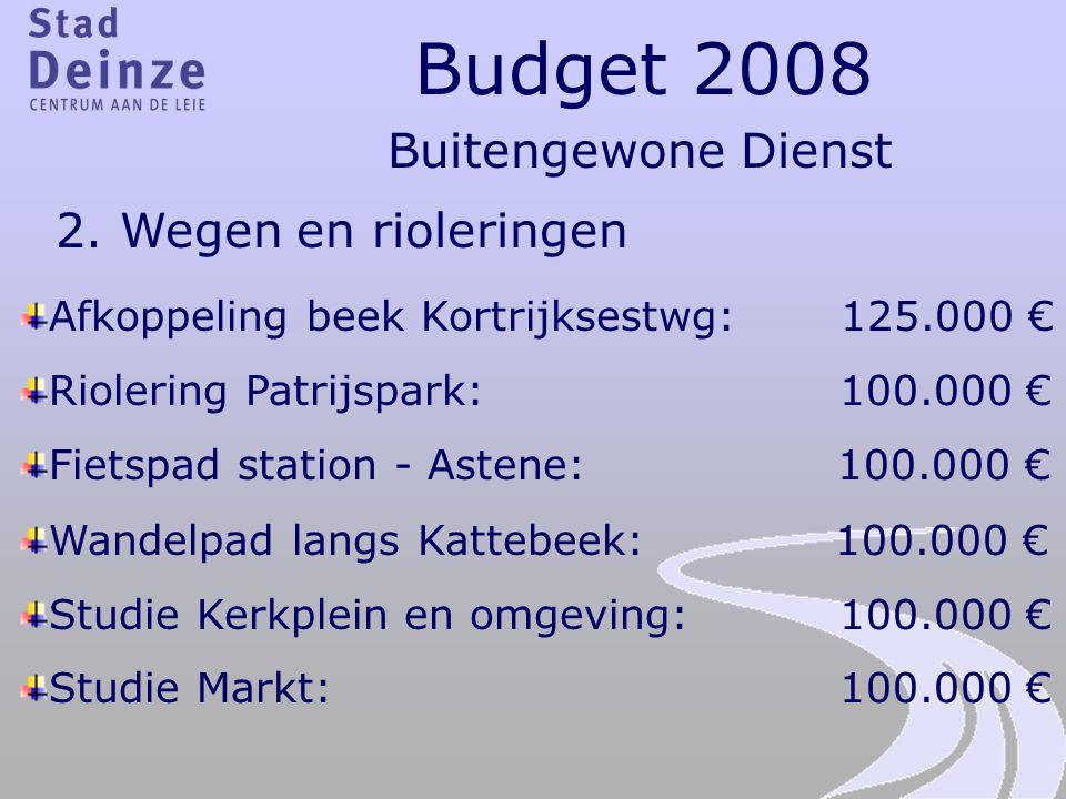 Budget 2008 Buitengewone Dienst 2. Wegen en rioleringen