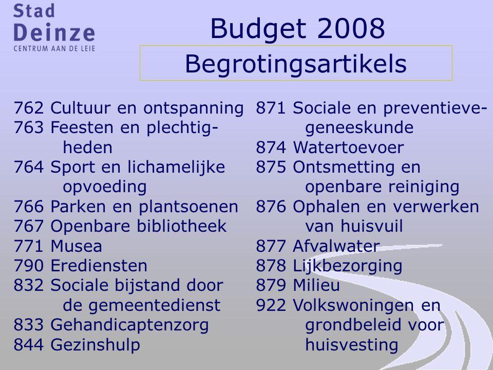 Budget 2008 Begrotingsartikels 762 Cultuur en ontspanning