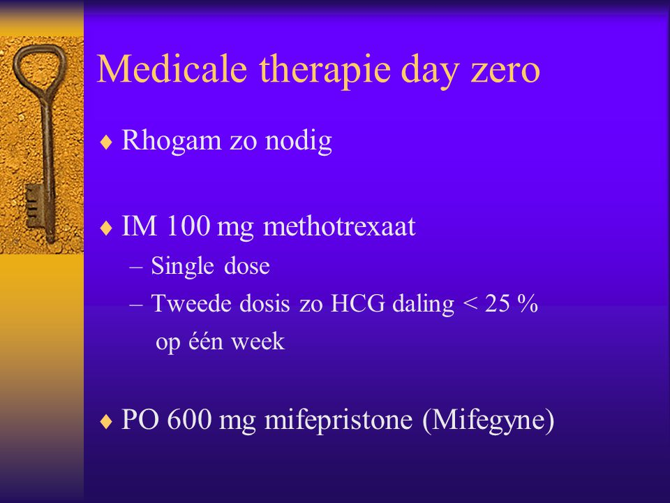 Medicale therapie day zero