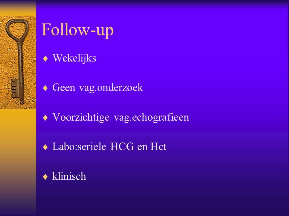 Follow-up Wekelijks Geen vag.onderzoek Voorzichtige vag.echografieen