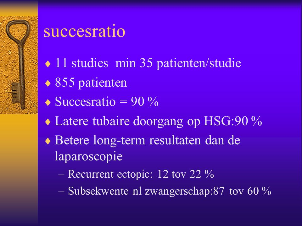 succesratio 11 studies min 35 patienten/studie 855 patienten