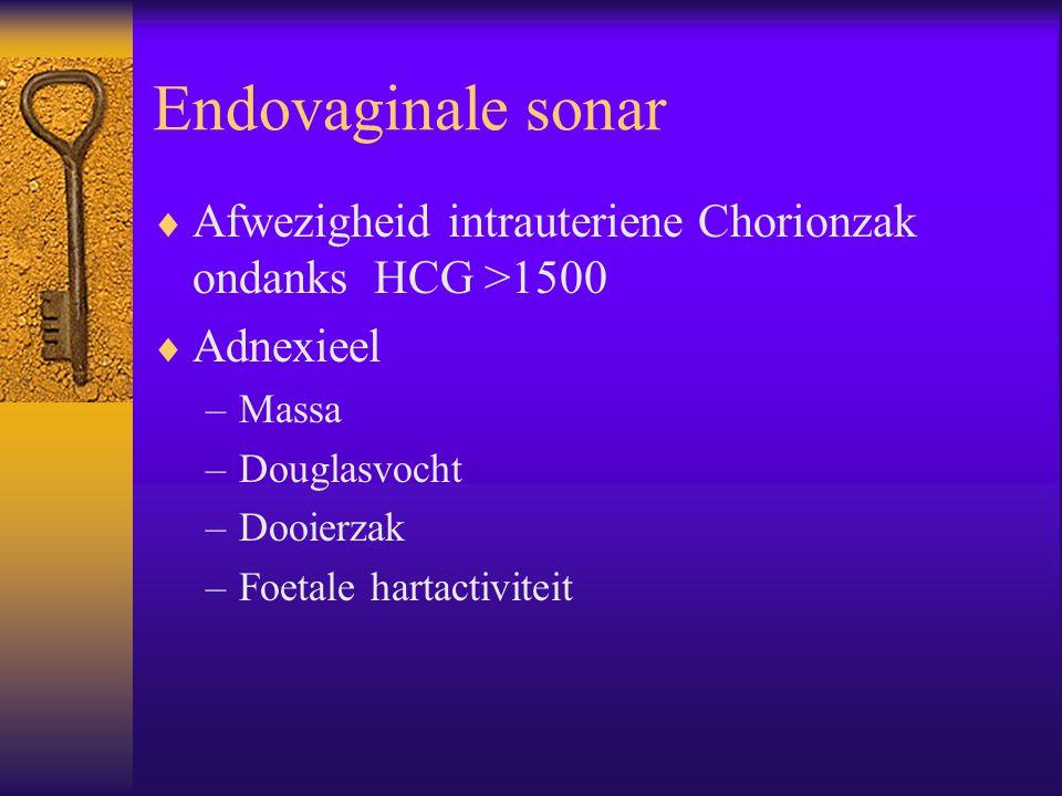 Endovaginale sonar Afwezigheid intrauteriene Chorionzak ondanks HCG >1500. Adnexieel. Massa. Douglasvocht.