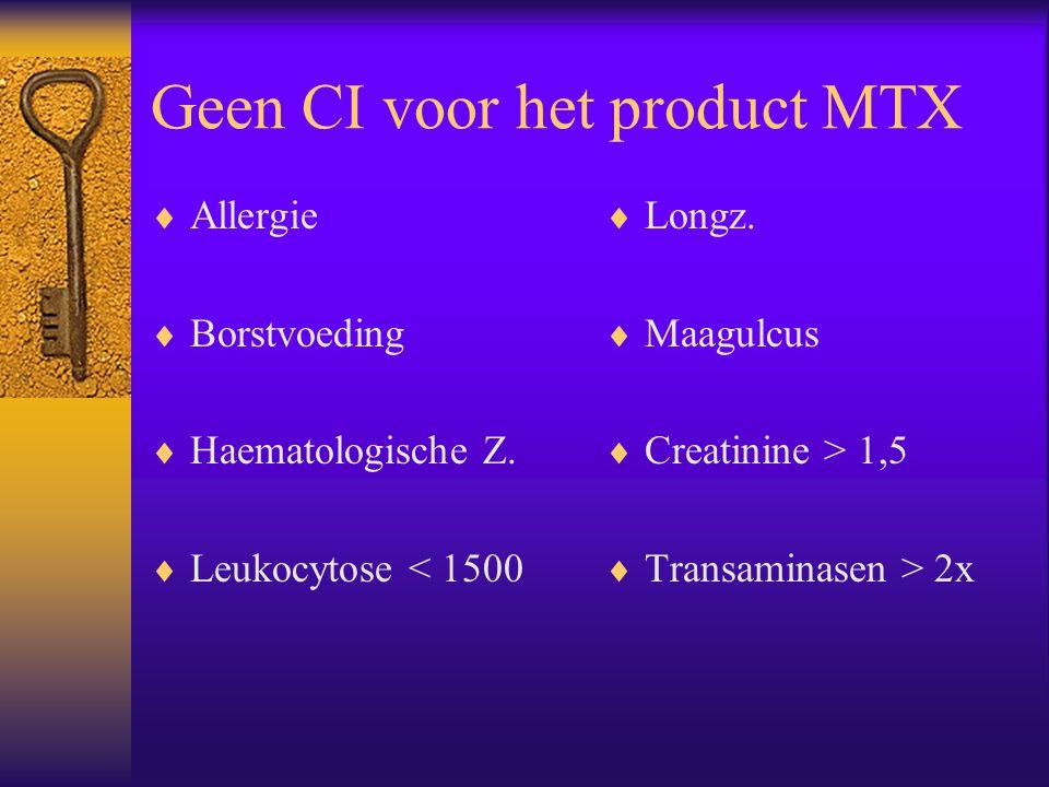 Geen CI voor het product MTX