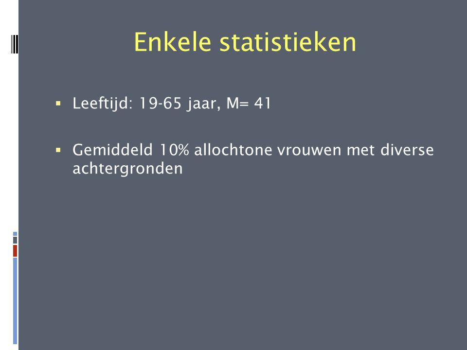 Enkele statistieken Leeftijd: 19-65 jaar, M= 41